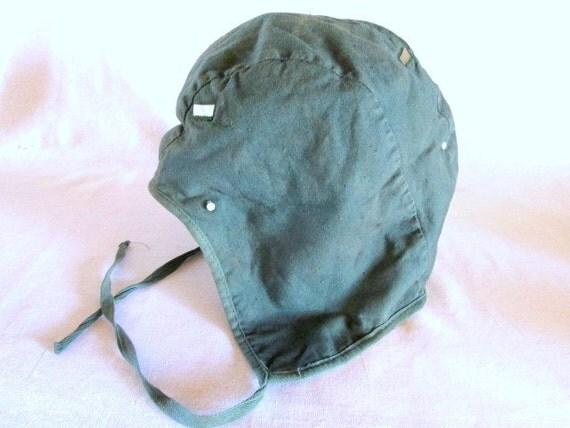 SALE ~ Vintage Pilot Helmet Liner ~ WWII Era Green Cloth ~ Flying ...