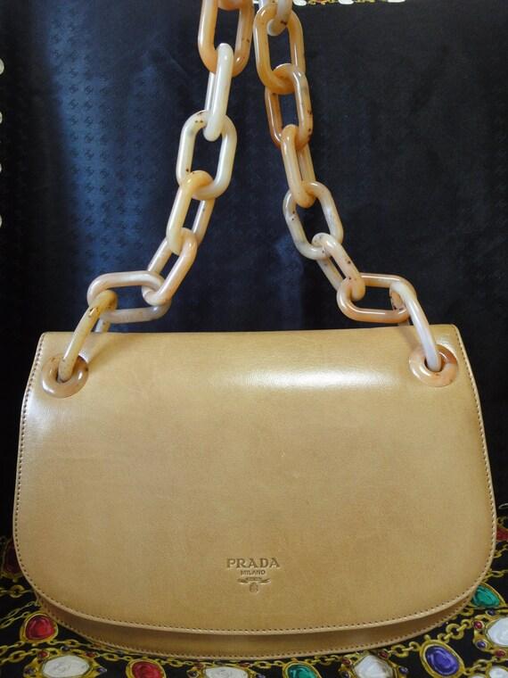 prada wristlet leather - Vintage PRADA tanned brown calf leather handbag purse by eNdApPi
