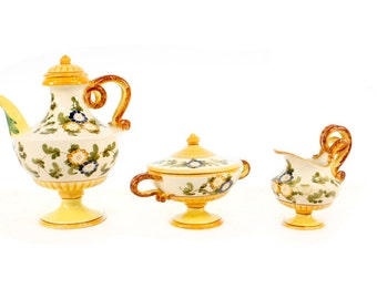 Vintage Italian Ceramic Tea Service for Three with Teacups and Saucers //  Tuscany  // Gold, Yellow, Blue and Green