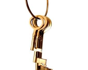 Vintage Brass Key Ring of Various Skeleton Keys: Set of 5 Keys