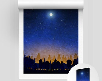 The secret of the night forest - Rolled Canvas print, Fine art illustration Wall decor Parisian home decor Living room decor Large wall art