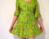 Mod 60's Mini Dress Flower Power 2 piece set, Lime Green Bell Sleeves