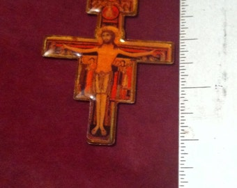 "Jesus on the Cross Icon Resined Enamel Crucifix Necklace with 20"" Antiqued BrassChain"