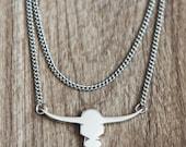 Collier Tête de Bull en argent925- Bull silver necklace