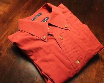 90s GANT maroon khaki oxford shirt - Mens Medium