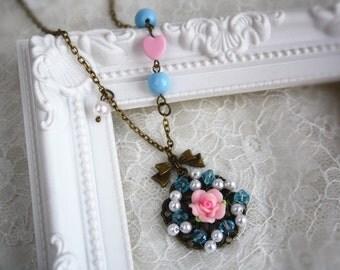 love filigree wheel rose necklace beaded wheel flower cute bow pendant vintage romance bronze jewellery accessory gift box