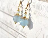 Blue Dangle Earrings, Light Blue Earrings, Dainty Earrings, Small Drop Earring, Blue Bead Earrings, Pale Blue Earring, Blue Jade Earrings UK
