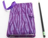 Shibori Pocket Journal Cover, Small Diary Cover, Pocket Notebook 3.5 x 5.5 inch, Journal Slipcover - Plum Lilac Purple Hand Dyed Cotton