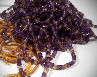 Ametrine Amethyst Citrine Micro Faceted Rondelle Beads 3.5mm