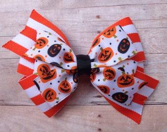 4 inch double pinwheel Halloween hair bow - Halloween bow, pumpkin bow
