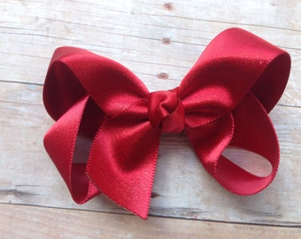 Red gold shimmer hair bow - 3 inch red bow, boutique bows, girls hair bows, red hair bows, toddler bows, baby bows