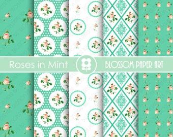 Mint Digital Paper Shabby Chic Digital Paper Pack, Floral Scrapbooking, Decoupage - Collage Sheet - Digital Paper - Printable - 1859