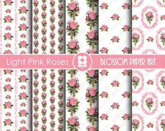 Pink Scrapbook Digital Paper Pink Roses Digital Paper Pack, Vintage Floral Scrapbooking, Decoupage - Collage Sheet - Digital Paper - 1825