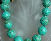 """Turquoise Necklace c/w Czech Glass Spacers - 23""""lg (58cm)  - Sterling Silver Finish"""