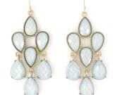 Elegant Gold-tone Ice Blue Beads Drop Earrings,Q1
