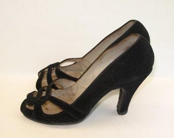 1940s Shoes Vintage Suede Open Toe - 6
