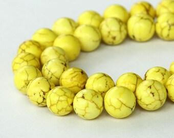 Magnesite Beads, Lemon Yellow, 10mm Round - 15 inch Strand - eGR-MG009-10