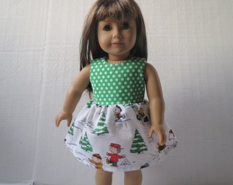 Pretty Snoopy Winter Wonderland Party Dress for American Girl Doll 18 Inch