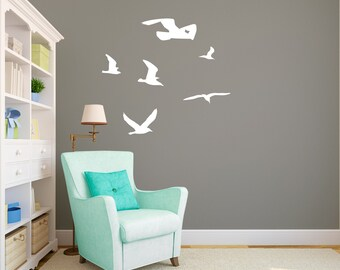 Seagulls Flock Flying Sihlouettes - Wall Decal Custom Vinyl Art Stickers