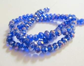 """Medium Blue AB Faceted Rondelle Crystals, Beads, 6X4mm, 8"""" Strand"""