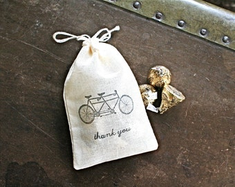 Wedding favor bags, set of 50 drawstring cotton bags. Tandem bike with Thank You in black. Bridal shower favor, party favor bags.
