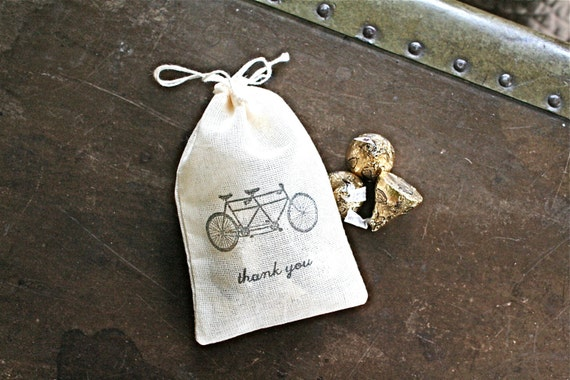 Wedding favor bags, 3x4.5. Set of 50 double drawstring muslin bags. Tandem bike with Thank You in black on natural cotton.