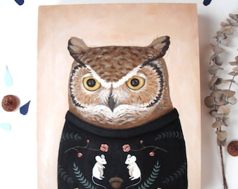 Original Painting: Sweatered Owl - illustration, knit, knitted, jumper, forest, tree, rustic, home decor, woodland, cute, wildlife, animals