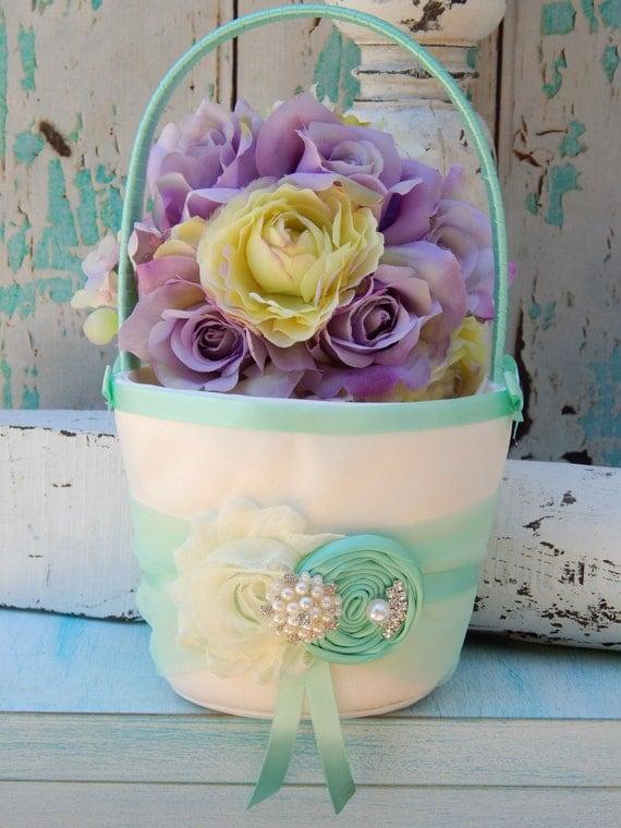 Flower Girl Baskets Green : Items similar to flower girl basket mint