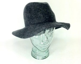 Vintage Floppy Hat - Grey Wool Bowler Hat - 90s Banana Republic Sun Hat - Boho Womens Hat