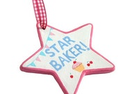 Star Baker Ceramic Decoration, Custom Personalised Baking Gift