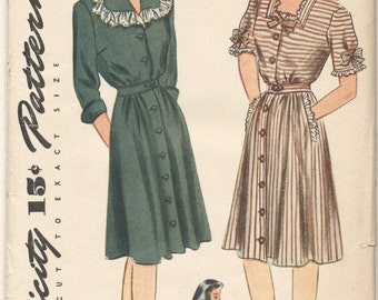 Vintage 1943 Simplicity Pattern 4913 Ladies Dress Size 18 Bust 36