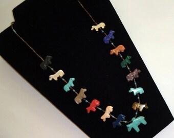 """27"""" Horse Fetish Necklace, Southwestern Pony Necklace,Heishi Necklace, Apache Made"""