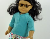 18 Inch Doll Clothes -- Henley Top & Jeans -- 2 Piece Outfit (3-40)