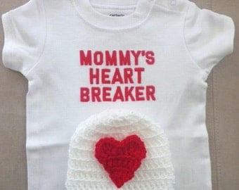 "Valentine's outfit for baby boy or baby girl - ""Mommy's Heart Breaker"" onesie with matching crochet beanie hat"