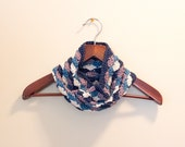 Crochet Cowl Scarf, Women's Fall Fashion, For Her, Ocean Inspired Shell Stitch, Blue Ivory and Purple, Sea, Nautical, Boho
