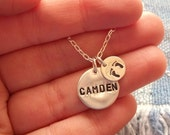 Personalized Baby Name Necklace w/ Footprints- 6 Letters Maximum, Sterling Silver, New Mom, Hand Stamped, Mother's Day  - MADE TO ORDER
