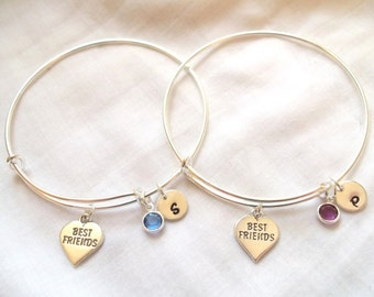 Personalized Best Friend Bangle Bracelets -- Sterling Silver, Personalized, Heart, Birthstone, Initial, Best Friend Jewelry -- MADE TO ORDER