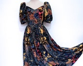 Exotic Flowers Botanical Print Dress - Vintage Dress Gown - Prom Dress - Maxi Dress - Dresses UK