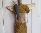 Primitive Angel Doll with Crow, Wall Hanging