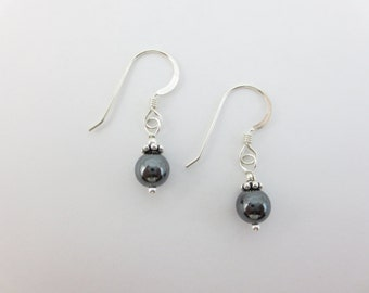 Hematite Earrings - Bridesmaid Earrings - Bridal Earrings - Best Friend Earrings - Bead Earrings - Dangle Earrings - On Silver or Gold - 6mm