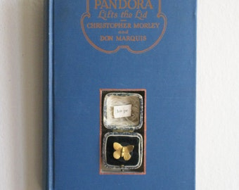 Original Blue Book Shadowbox/ Diarama, Pandora's Box, Butterfly as Hope, Assemblage