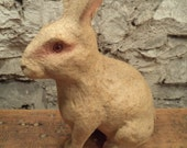 vintage paper mache pulp easter bunny rabbit figure candy container