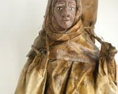 Folk Art Lady Statue, Paper Mache Figurine