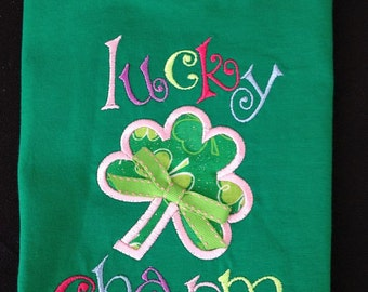 Lucky Charm St. Patrick's Day Appliqué Shirt or Bodysuit - Personalized T-Shirt - Kids - Girl - Toddler - Infant - Baby - Shamrock