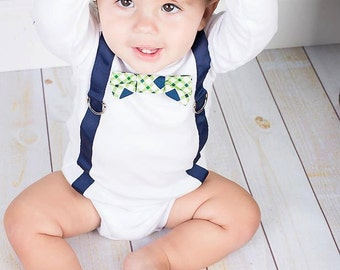 Baby Boy Bow Tie One Piece Bodysuit with Suspenders and Crochet Hat Set, Blue and Green, Baby Boy Fashion, Wedding Clothes, Baby Shower Gift
