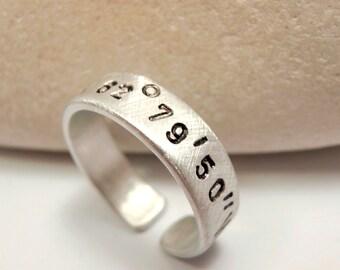 Personalized Aluminum Ring, Adjustable Handstamped Names Coordinates Dates Initials Latitude Longitude, Men Groomsmen Woman Anniversary Gift