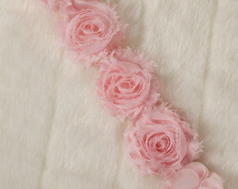 Pink Pacifier Clip Pacifier Holder with Shabby Chiffon Flowers