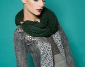 Emerald scarf necklace - Wool scarf - Statement necklace - Oversized chunky scarf - Dark green necklace -  Emerald green statement necklace