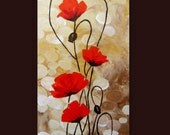Items similar to original acrylic painting red poppies for Glasbilder modern art