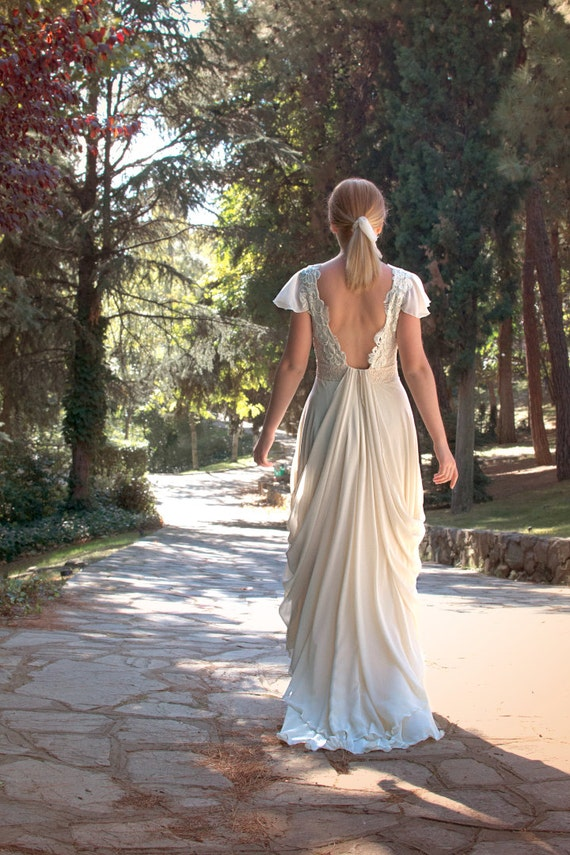 Grecian long wedding gown ivory cream wedding by for Grecian chiffon wedding dress